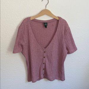 Blush pink v-neck top